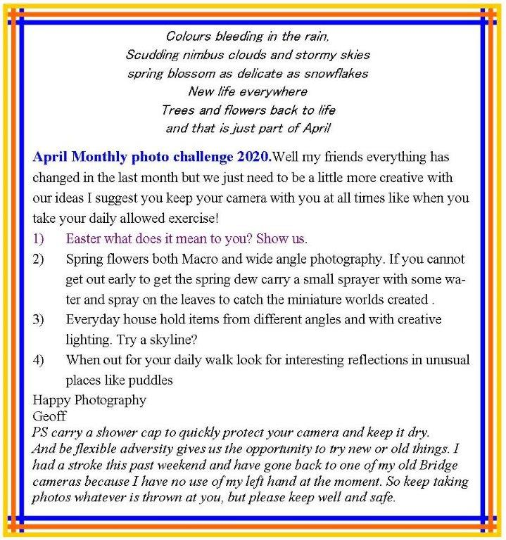 April 2020 Monthly photo challenge